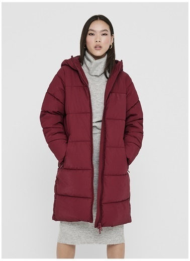 Only Only Sienna Long Puffer Kaban Bordo